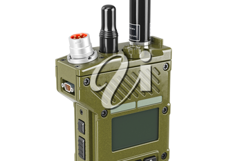 Military radio modern portable with display, close view. 3D graphic