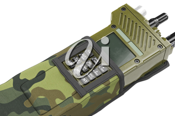 Military radio station digital device with buttons in cover, close view. 3D graphic