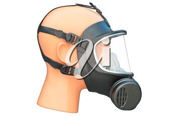 Safety pro mask black on locks, side view. 3D graphic