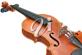 Viola classical stringed musical equipment, close view. 3D graphic