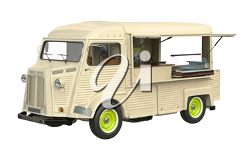 Food truck eatery cafe on wheels. 3D graphic