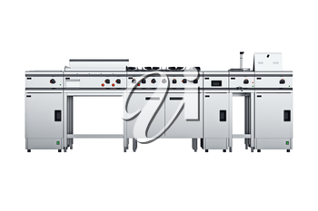Kitchen equipment professional steel, front view. 3D graphic