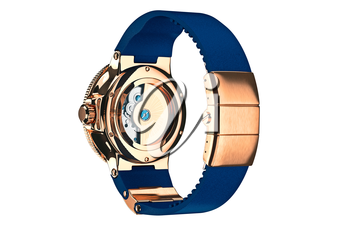 Wrist watch classic accessory, back view. 3D graphic