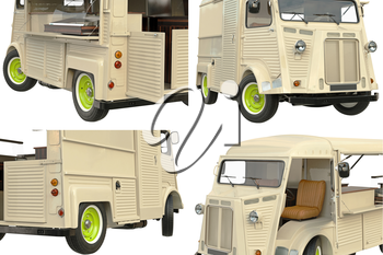 Food truck mobile cafe set, close view. 3D graphic