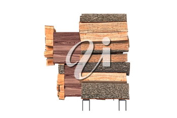 Wood cabinet furniture for interior, side view. 3D graphic