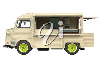 Food truck beige eatery with open doors, side view. 3D graphic
