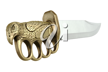Knife steel dagger with gold hilt, close view. 3D graphic