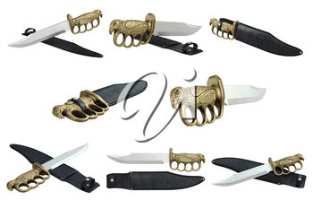 Knife steel dagger with shiny gold handle set. 3D graphic