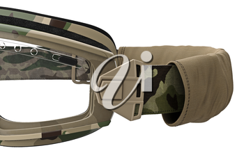 Military goggles, eyeglass camouflage protection, close view. 3D graphic
