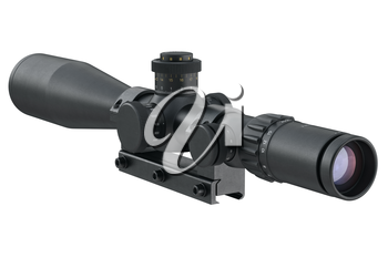 Scope optical military device with glass lens. 3D graphic