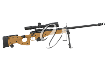 Rifle sniper weapon black metal, side view. 3D graphic