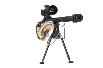 Rifle sniper aiming hunting object, front view. 3D graphic
