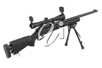 Rifle sniper black with optical scope and bipod. 3D graphic