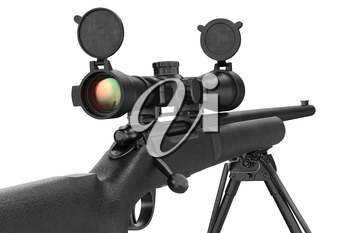 Rifle sniper military with lens optical scope, close view. 3D graphic