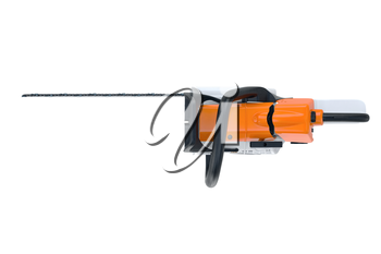Chainsaw gasoline white metal and black plastic, top view. 3D rendering