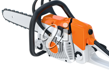 Chainsaw gasoline industry professional machine. 3D rendering