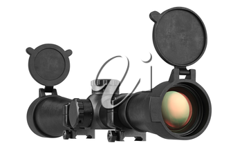 Scope optical military sniper rifle equipment. 3D rendering