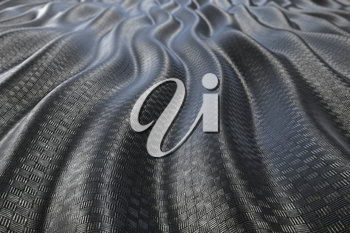 Metallic pattern texture abstract wave curve background. 3D rendering
