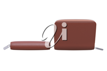 Wallet leather pouch personal apparel, side view. 3D rendering