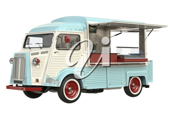Food truck eatery cafe on wheels, in light colors. 3D rendering