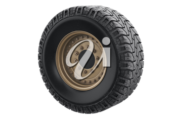 Car wheel military sand with rim. 3D rendering