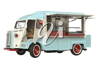 Food car beige eatery with open doors, in light colors. 3D rendering