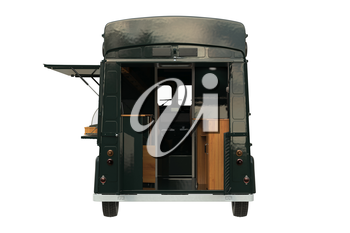 Food car retro style with open doors, back view. 3D rendering