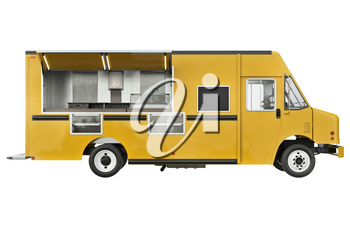 Food car cafe open doors, side view. 3D rendering