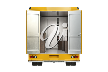 Food car yellow with open doors, back view. 3D rendering