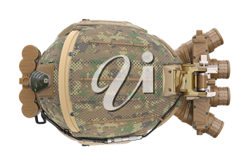Hemet military army camouflage, top view. 3D rendering