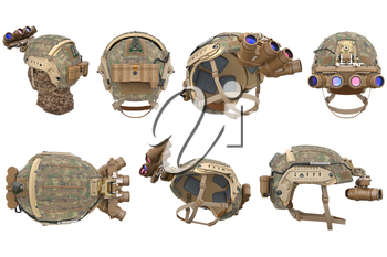 Helmet vision device military outfit set. 3D rendering
