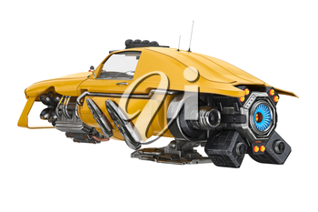 Future car flying with futuristic turbine. 3D rendering