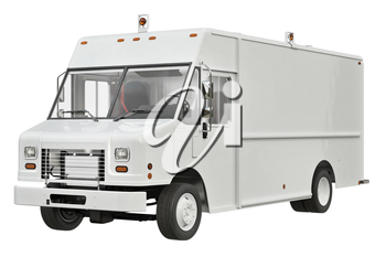 Van car white for commercial delivery. 3D rendering