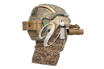 Hemet military army camouflage protection. 3D rendering