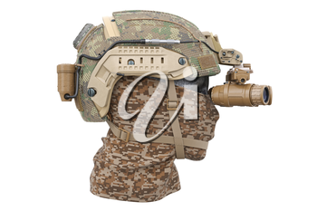 Helmet khaki military army googles with bandage, side view. 3D rendering