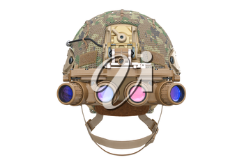 Helmet night goggles camouflage dressing, front view. 3D rendering