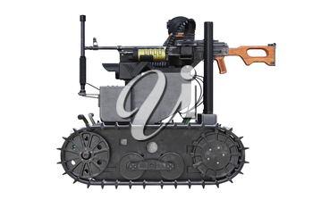 Military robot army vehicle with tracks, side view. 3D rendering