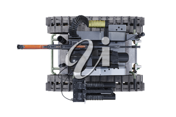 Military robot army mechanic vehicle, top view. 3D rendering