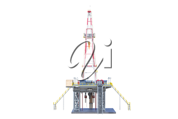 Land rig drilling well power equipment, back view. 3D rendering