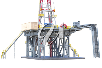 Land rig drilling well power equipment, close view. 3D rendering