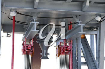 Land rig production oil pump, close view. 3D rendering