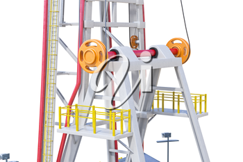 Land rig tower metal pipe, close view. 3D rendering