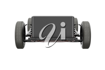 Chassis frame dirt underbody, frontal view. 3D rendering