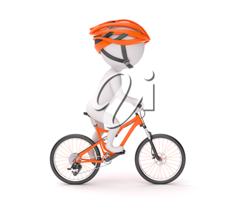 Side view of 3d man in helmet cycling over white