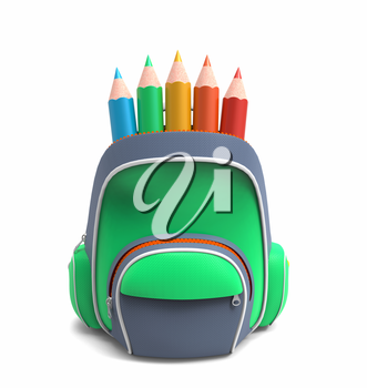 Green school backpack with pencils isolated on white background