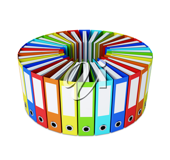 A lot of multicolored folders forming a circle isolated on white background