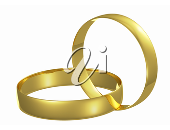Two chained golden wedding rings isolated on white background