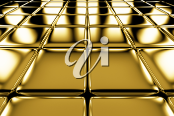 Golden cubes flooring perspective view shiny abstract industrial background