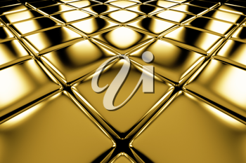 Golden cubes flooring diagonal perspective view shiny abstract industrial background