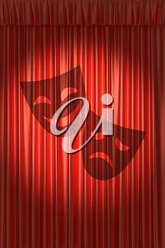 Red theater curtain with shadow of two masks with gathers under round spot light
